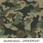 dinosaur khaki army pattern.... | Shutterstock .eps vector #1909339147