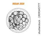 rogan josh sketch  indian food. ... | Shutterstock .eps vector #1909345777