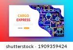 cargo express neon landing page....   Shutterstock .eps vector #1909359424