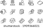 payment methods thin line icons ... | Shutterstock .eps vector #1909366021