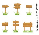 set of wooden signs in a grass... | Shutterstock .eps vector #190938737