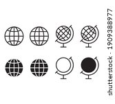 globe icon set. earth... | Shutterstock .eps vector #1909388977
