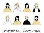 a set of simple avatar icons of ...   Shutterstock .eps vector #1909407001