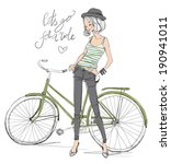 girl with bike | Shutterstock .eps vector #190941011