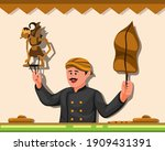 wayang is traditional leather...   Shutterstock .eps vector #1909431391