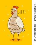 cute chicken on orange...   Shutterstock .eps vector #1909480594