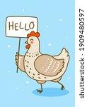 cute chicken on blue background ...   Shutterstock .eps vector #1909480597
