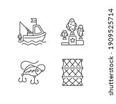 fishing gear linear icons set.... | Shutterstock .eps vector #1909525714