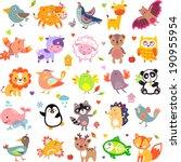 Stock vector vector illustration of cute animals and birds yak quail giraffe vampire bat cow sheep bear 190955954