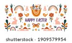 boho easter concept design ... | Shutterstock .eps vector #1909579954