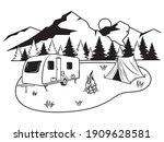 illustration of forest camping. ... | Shutterstock .eps vector #1909628581