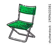 folding camp chair isolated on...   Shutterstock .eps vector #1909633381