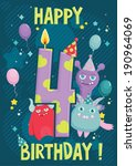 fourth year happy birthday... | Shutterstock .eps vector #190964069
