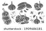 garlic glyph monochrome icon... | Shutterstock .eps vector #1909686181