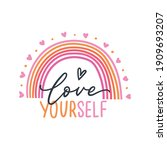 love yourself phrase with... | Shutterstock .eps vector #1909693207