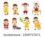baby girl set. naughty children ... | Shutterstock .eps vector #1909727071