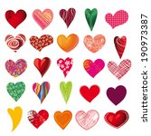 set of multicolored hearts ... | Shutterstock .eps vector #190973387