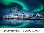 Winter Scenery With Aurora Over ...