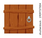 wooden door in cartoon style ...