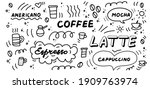 coffee doodles icon set. hand... | Shutterstock .eps vector #1909763974