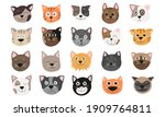 Funny Cat Face Set Vector...