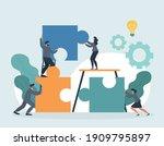 hr concept. employee engagement ... | Shutterstock .eps vector #1909795897