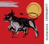 ox bull or cow paint brush... | Shutterstock .eps vector #1909838977