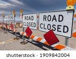 road closed signs blocking... | Shutterstock . vector #1909842004