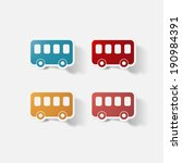 paper clipped sticker   bus.... | Shutterstock .eps vector #190984391