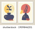 wall art set. bohemia. floral... | Shutterstock .eps vector #1909846201