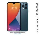 smartphone frameless blue color ... | Shutterstock .eps vector #1909960867