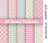 10 Sweet Cute Vector Seamless...
