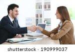 woman giving handshake to... | Shutterstock . vector #190999037