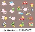 flat design   piggy bank saving ... | Shutterstock .eps vector #191000807