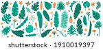 tropical jungle leaves. exotic...   Shutterstock . vector #1910019397