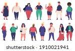 body positive people. plus size ...   Shutterstock . vector #1910021941