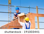 two bricklayer or builder or... | Shutterstock . vector #191003441