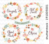 four stylish floral design... | Shutterstock .eps vector #191005001