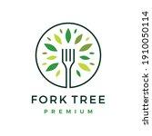 fork tree food leaf round logo...   Shutterstock .eps vector #1910050114