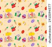 seamless easter pattern vector... | Shutterstock .eps vector #1910094577