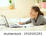 cute child use laptop for... | Shutterstock . vector #1910101291