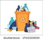 Full Garbage Bin. Overflowing...
