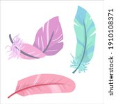bird feather in pastel colors....   Shutterstock .eps vector #1910108371