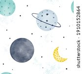cute watercolor space seamless...   Shutterstock .eps vector #1910152864