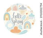 hello spring circle composition....   Shutterstock .eps vector #1910202754