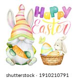 Cute Gnome  Rabbit  Easter Eggs ...