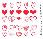 set red hearts  hand drawn...   Shutterstock .eps vector #1910216161