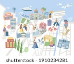 rest by the sea. resort town...   Shutterstock .eps vector #1910234281