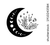 floral moon logo. moon phase...   Shutterstock . vector #1910243584