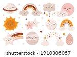 vector hand drawn celestial... | Shutterstock .eps vector #1910305057